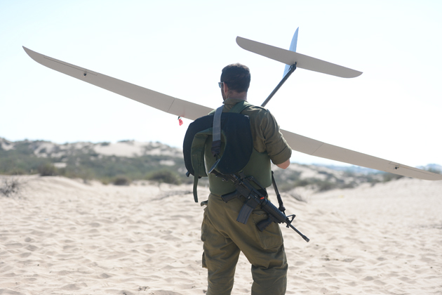 The Skylark UAV in operation with an IDF soldier during recent hostilities
