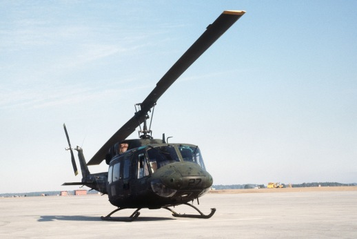 A right front view of a UH-1N Iroquois helicopter from the Marine Light Attack Helicopter Squadron 269 (HML/A-269).