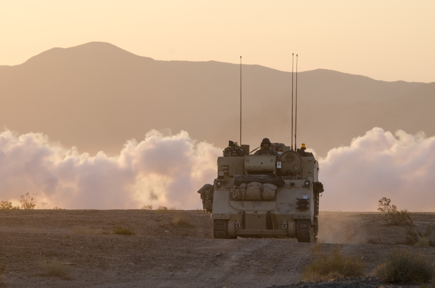 116th Cavalry Brigade Combat Team NTC rotation force-on-force day one
