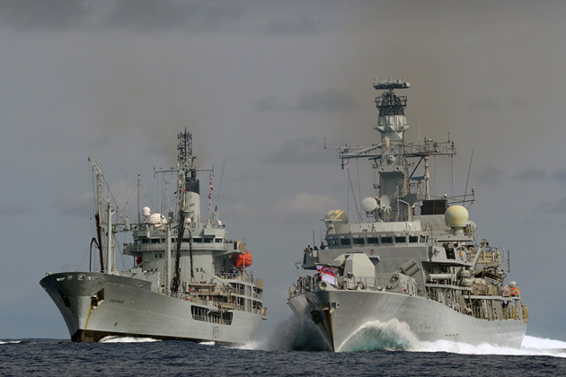 Picture are, on the left RFA GOLD ROVER, and on her right HMS LANCASTER sailing together on Atlantic Patrol Task (South) duties.